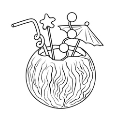 Coconut cocktail icon in outline style isolated on vector