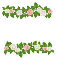 Colorful border crown of leaves with roses floral vector