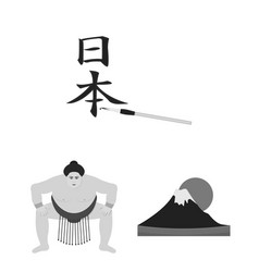 country japan monochrome icons in set collection vector image