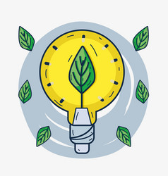 cute bulb with leaf inside to ecology care vector image