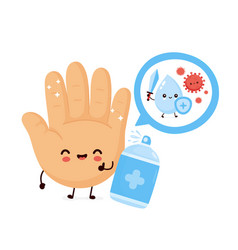 Cute happy smiling hand disinfect antiseptic vector