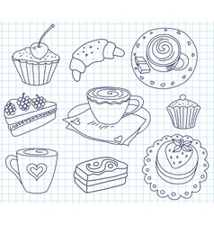 Doodle coffee set vector image