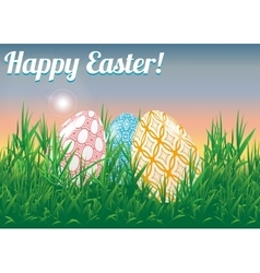Easter landscape Decorated Easter eggs in a vector image