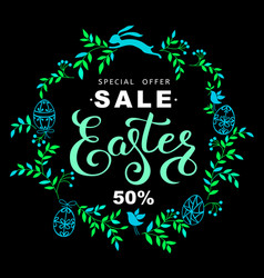 Easter sale banner with wreath of blue leaves and vector