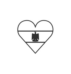 Egypt flag icon in a heart shape in black outline vector