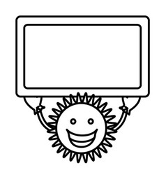 Figure sticker happy sun with blue board in the vector