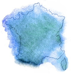 France watercolor map vector image