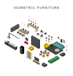 furniture set in isometric view vector image