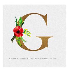 Golden letter g watercolor floral background vector
