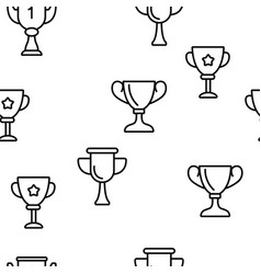 golden trophy cup seamless pattern vector image