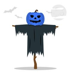 Halloween scarecrows with a jack o lantern head vector