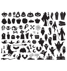 Halloween silhouettes spooky evil witch creepy vector