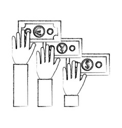 hands with international bills isolated icon vector image
