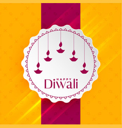 Happy diwali greeting with hanging diya vector