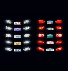 Headlights taillights number plate set vector