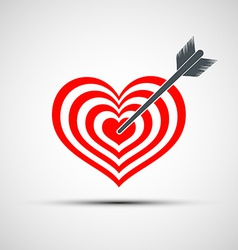 Heart icon as a target with an arrow vector