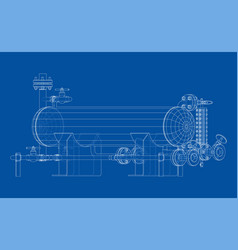 Industrial tank with valves vector