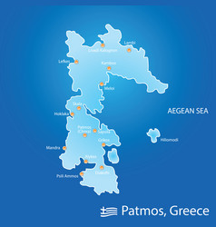 Island of patmos in greece map in colorful vector