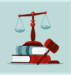 justice scales and wooden judge gavel concept law vector image