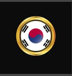 korea south flag golden button vector image