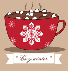 lovely winter card with cocoa and marshmallows vector image