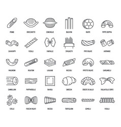 Macaroni pasta spaghetti icons set outline style vector