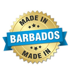 Made in Barbados gold badge with blue ribbon vector