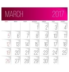 March 2017 calendar template vector