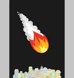 Meteorite and city fiery ball flies to town vector