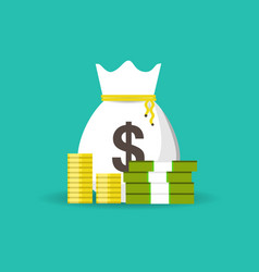 money bag design isolated on blue background vector image
