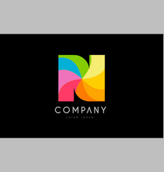 n rainbow colors logo icon alphabet design vector image