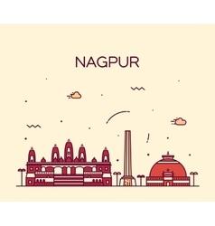 Nagpur skyline silhouette linear style vector