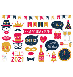 New year 2021 photo booth props - hats vector