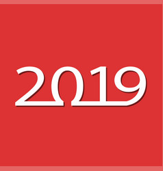 new year card for 2019 on red vector image