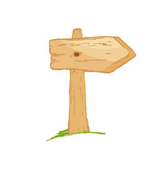 old wooden sign on a grass with mushrooms vector image