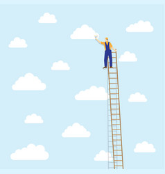 Painter on the ladder colors the clouds vector