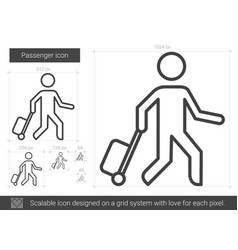 Passenger line icon vector