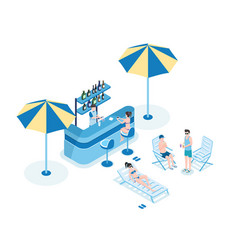 People in pool bar isometric vector