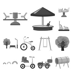 playground entertainment monochrome icons in set vector image