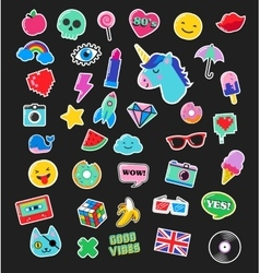Pop art fashion chic patches pins and stickers vector