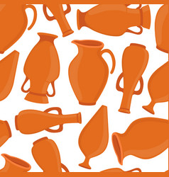 pottery seamless pattern vases ceramics vector image