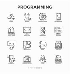 programming thin line icons set developer code vector image