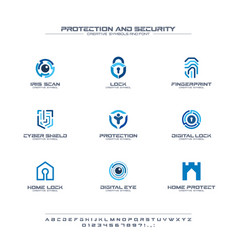 Protection and security creative symbols set font vector