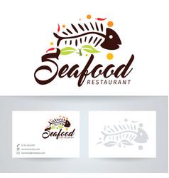 Seafood restaurant logo design vector