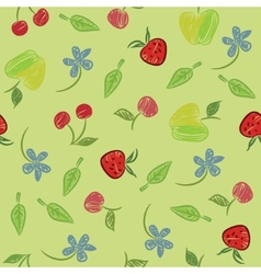 Seamless background with fruits and berries vector image