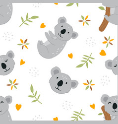 seamless pattern cute smiling koala vector image