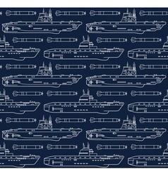 Seamless pattern with submarines and torpedoes vector