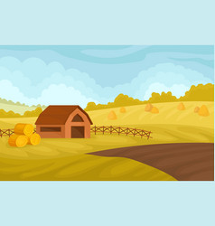 serene autumn rural landscape with barn and yellow vector image