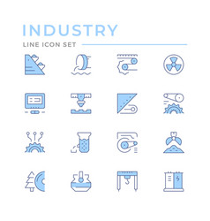 set color line icons industry vector image