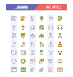set flat line icons blogging vector image